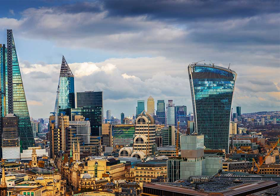 Skyline of London just before sunset